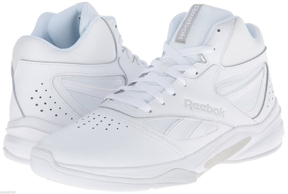 c62085bae46e9 Details about Reebok Mens Pro Heritage Hi Top Sneakers Leather All White  Sizes New 7-15