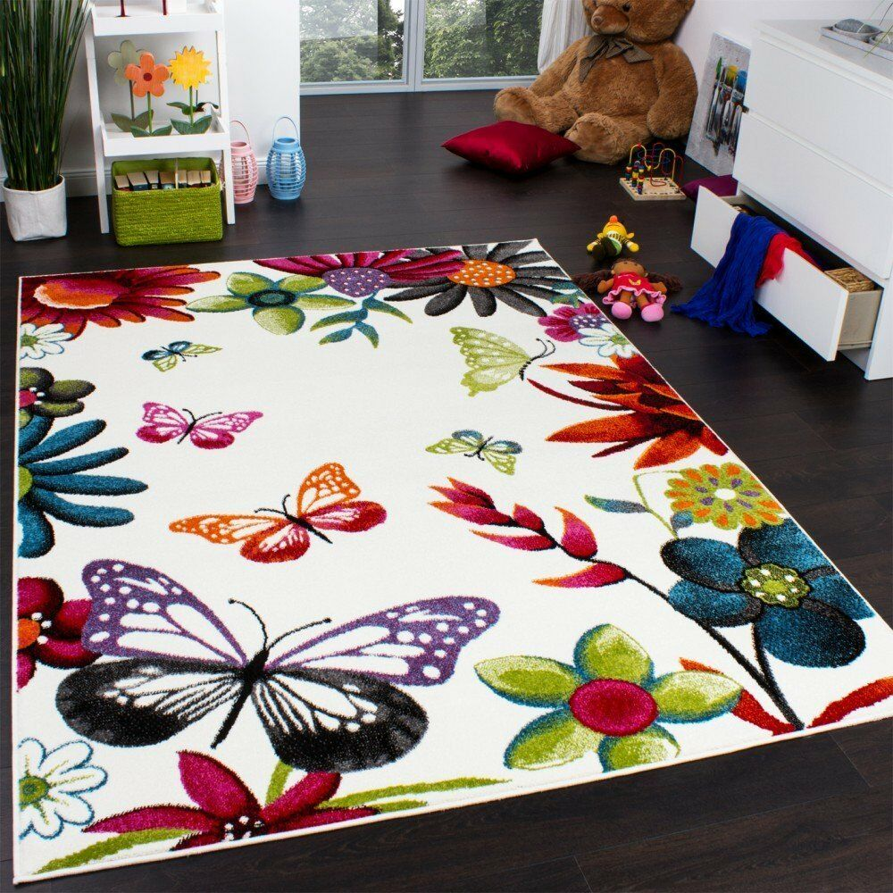 Kids rug carpet butterfly design children bedroom modern for Kids carpet designs