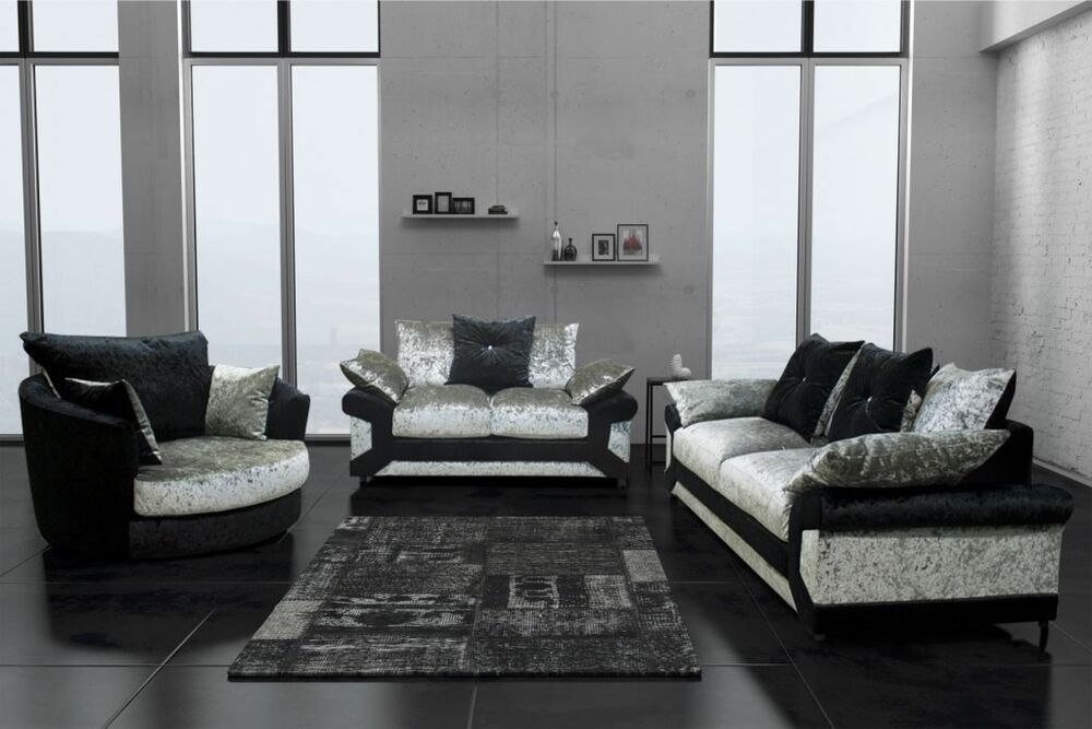 New Dallas Black Silver Crushed Velvet Fabric Sofa Suite