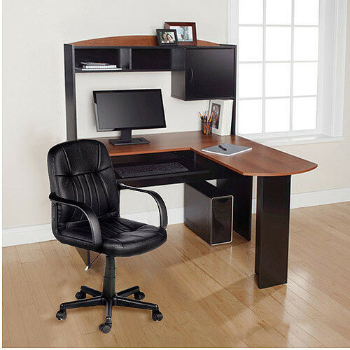 home office l shaped desk w hutch computer corner work station chair student new ebay. Black Bedroom Furniture Sets. Home Design Ideas