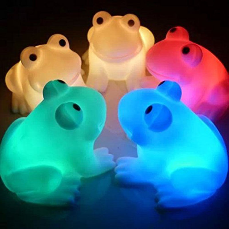 A Ton Of Rooms With Colorful Toys: Magic LED Night Light Colorful Color Changing Frog Shape