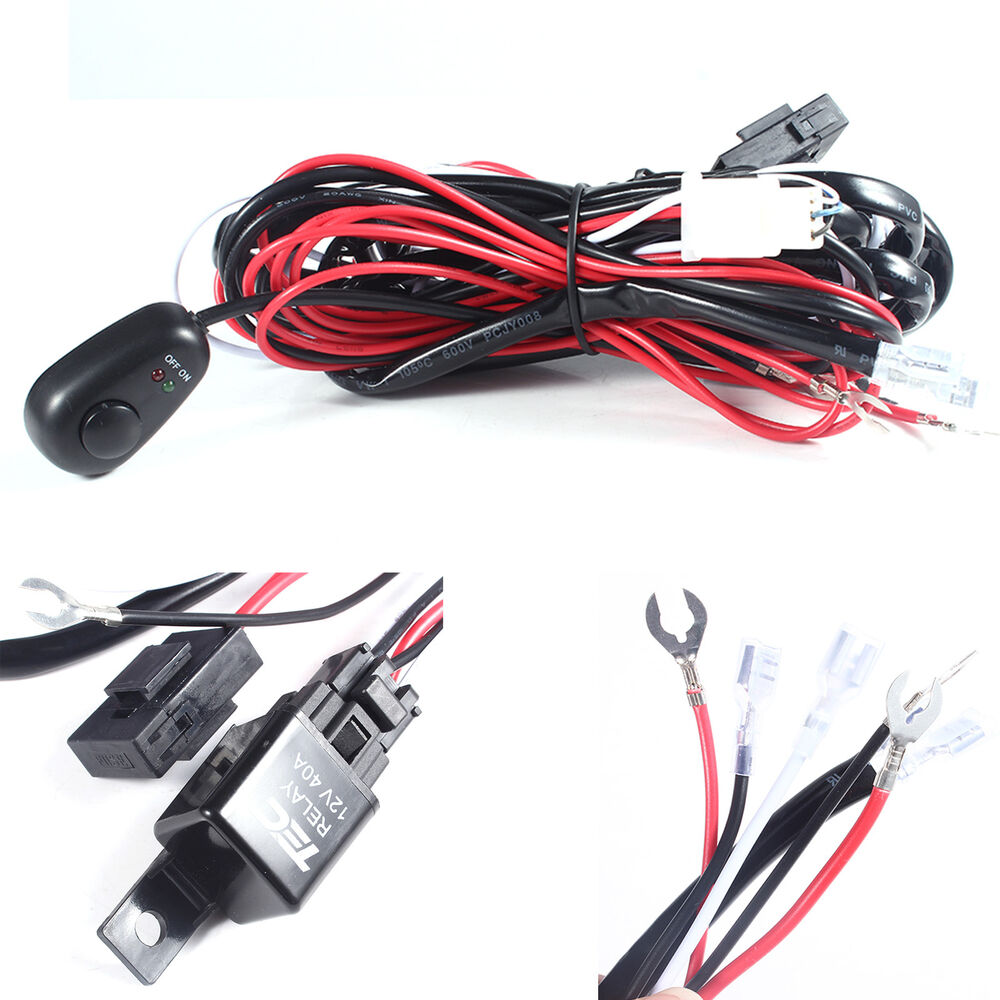 New wiring loom harness kit car fog lights bar with fuse