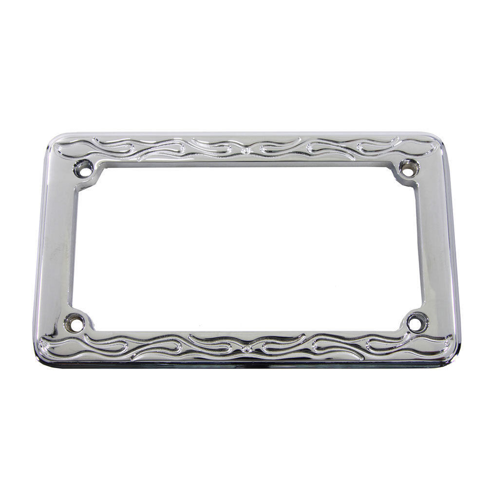 Chrome flame style license plate frame for 4 x 7 harley motorcycle custom ebay - Decorative chrome plating ...
