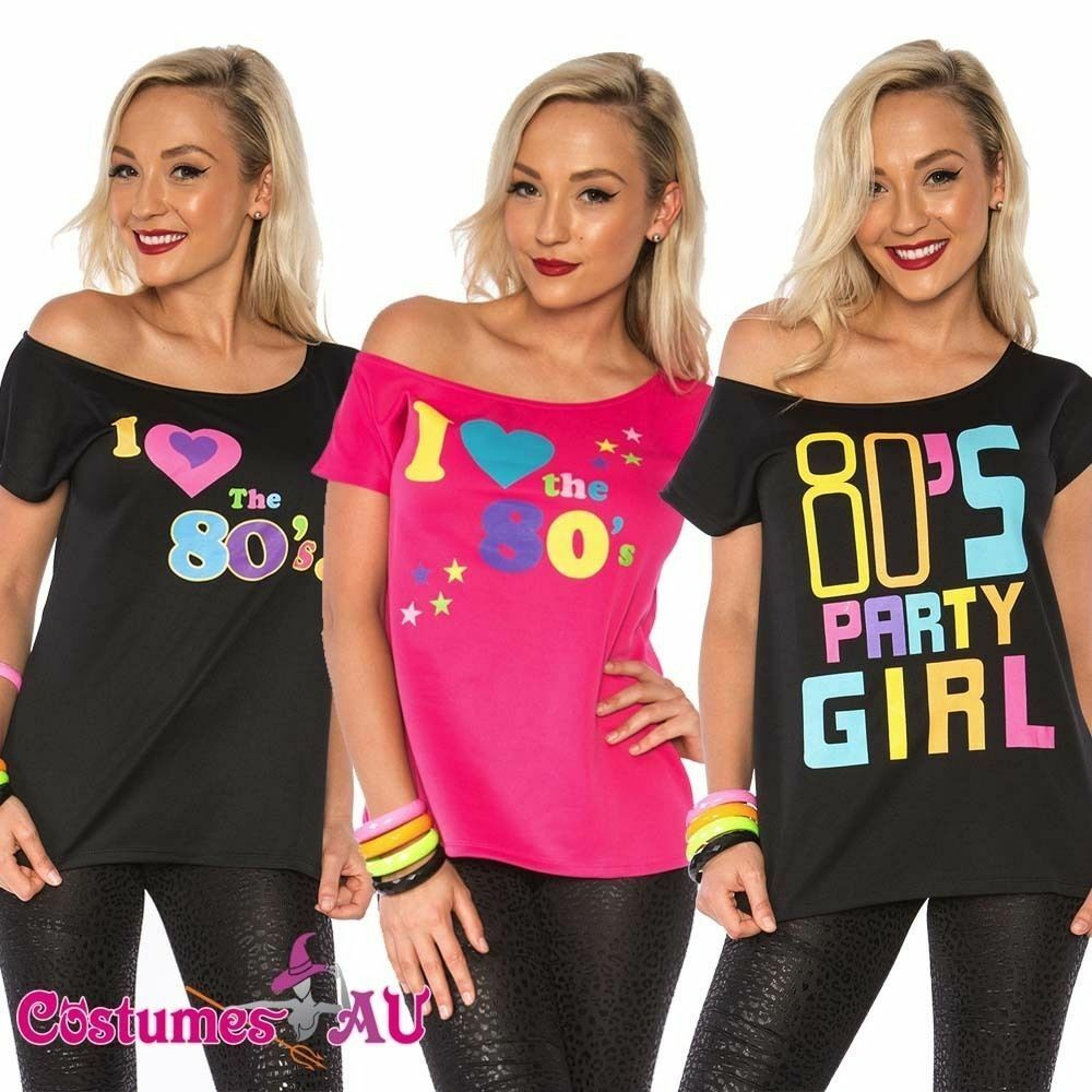 80s Fashion For Girls: I Love The 80's 80s T-shirt Costume Ladies 1980s Fancy