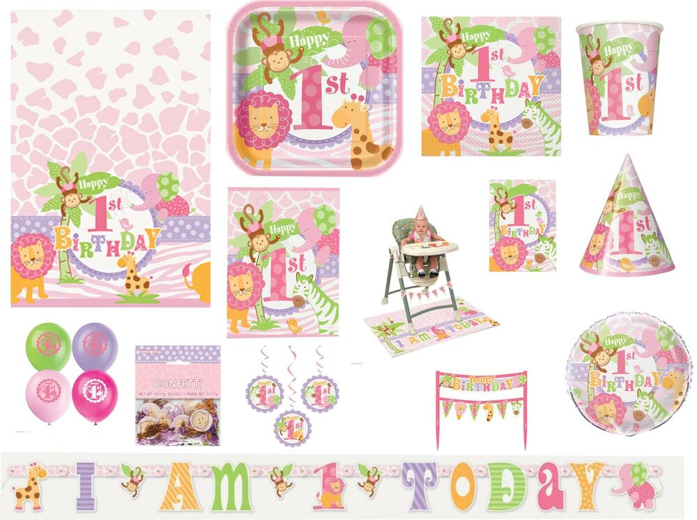 Girl Girls 1st First Birthday Pink Safari Jungle Party Tableware Decorations