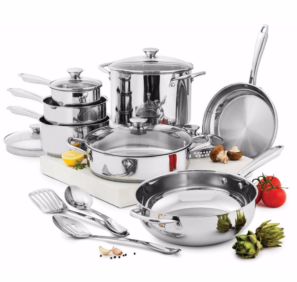 Wolfgang Puck Cooking 15 Pc Stainless Steel Cookware Set