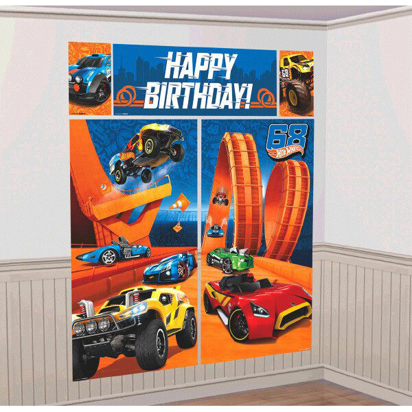 Hot Wheels Party Supplies Scene Setter Wall Decorating Kit Back Drop