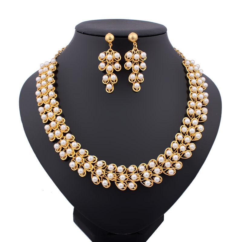 Pearl necklace earrings set wedding gold plated crystal for Bridesmaid jewelry sets under 20