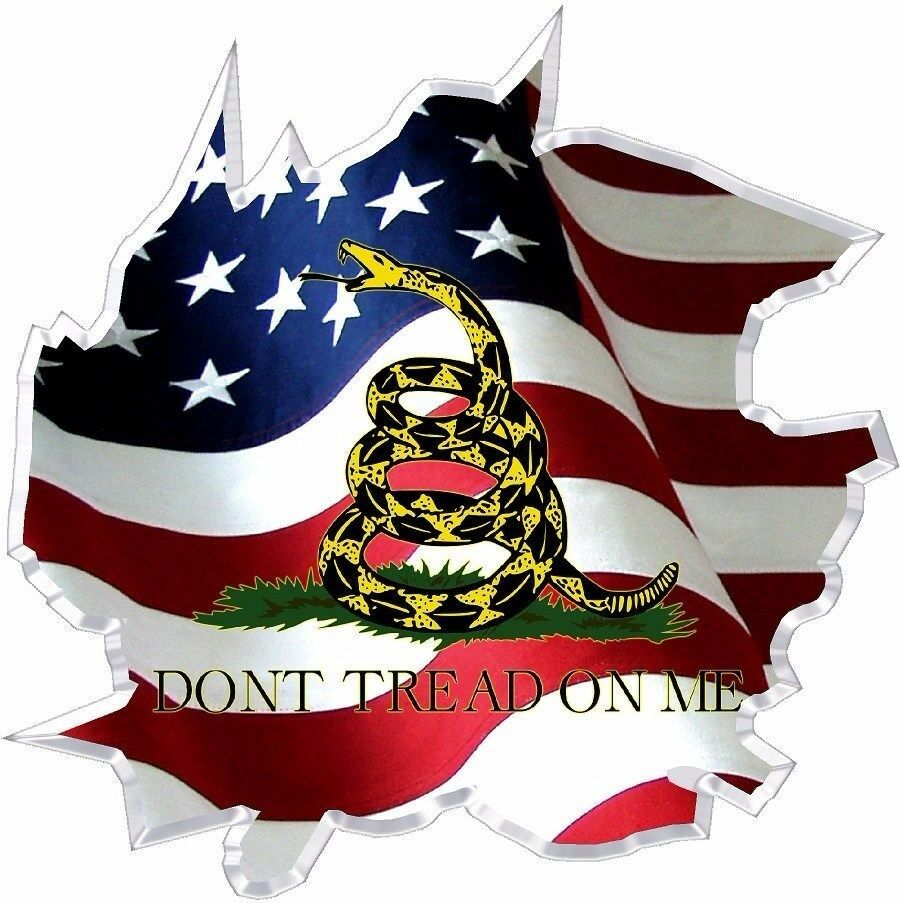 Vinyl Graphic Decal Ripped American Flag Gadsden Dont