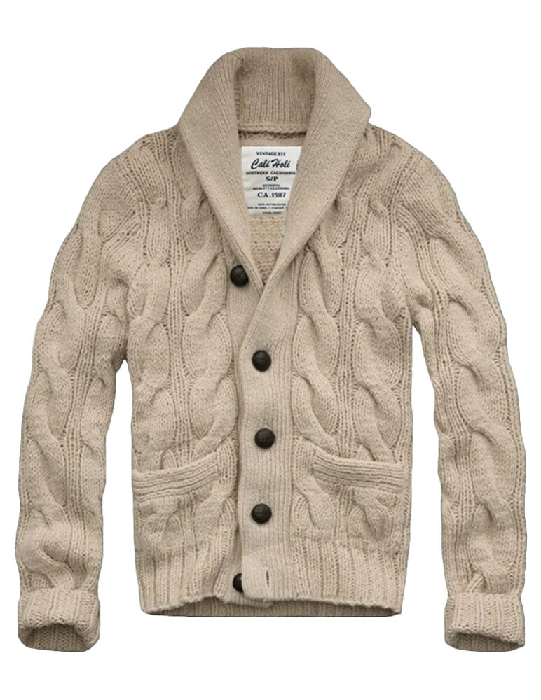 Ship From US! $158 MENS CALI HOLI SHAWL COLLAR CABLE KNIT CARDIGAN ...