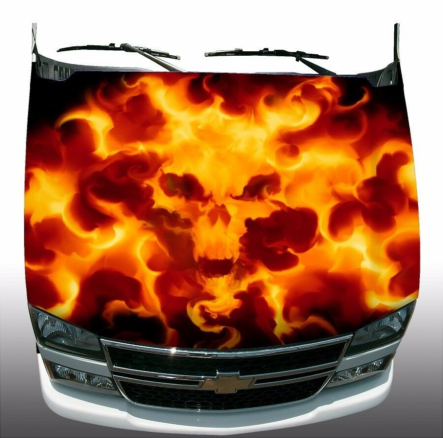 Skull Flame Fire Hood Wrap Wraps Sticker Vinyl Decal