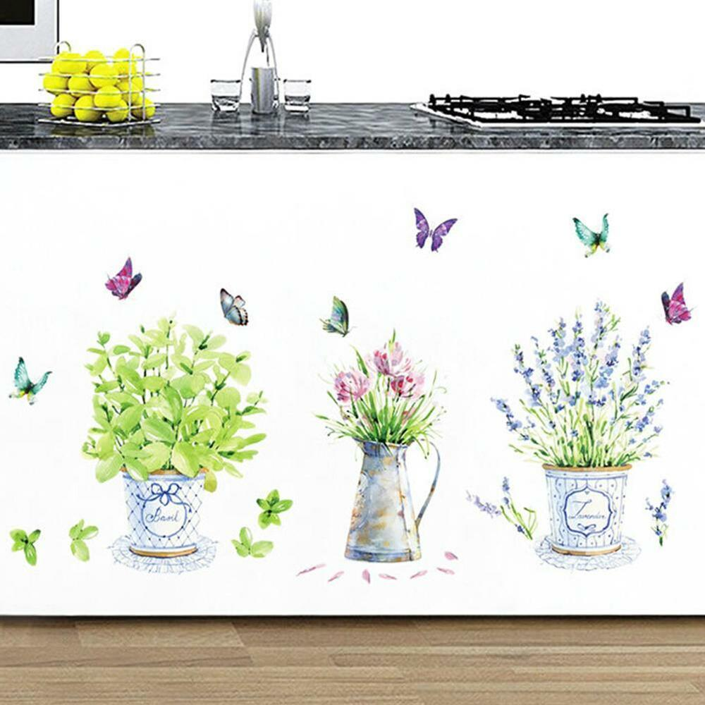 Wire And Glass Wall Art Home Decor ~ Diy decor potted flower pot butterfly wall stickers home
