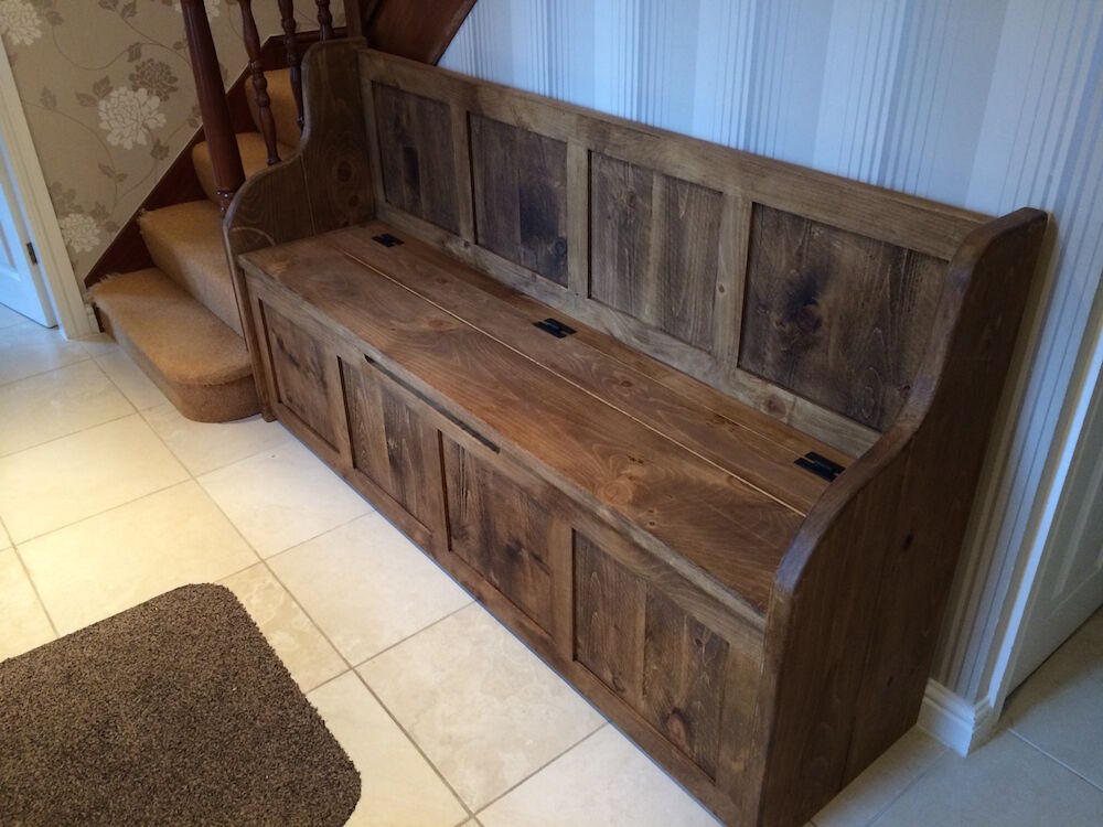 6 Ft Rustic Plank Style Monks Bench Settle Pew With Storage Made To Any Size Ebay
