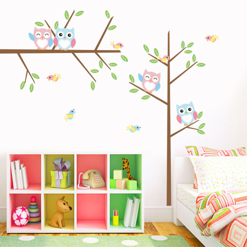 Colorful Owls Birds Tree Branch Wall Decal Removable Pvc