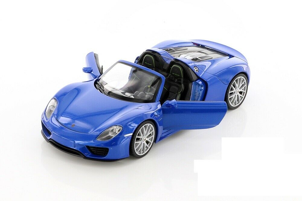 welly porsche 918 spyder silver gray 1 24 diecast car model new ebay. Black Bedroom Furniture Sets. Home Design Ideas