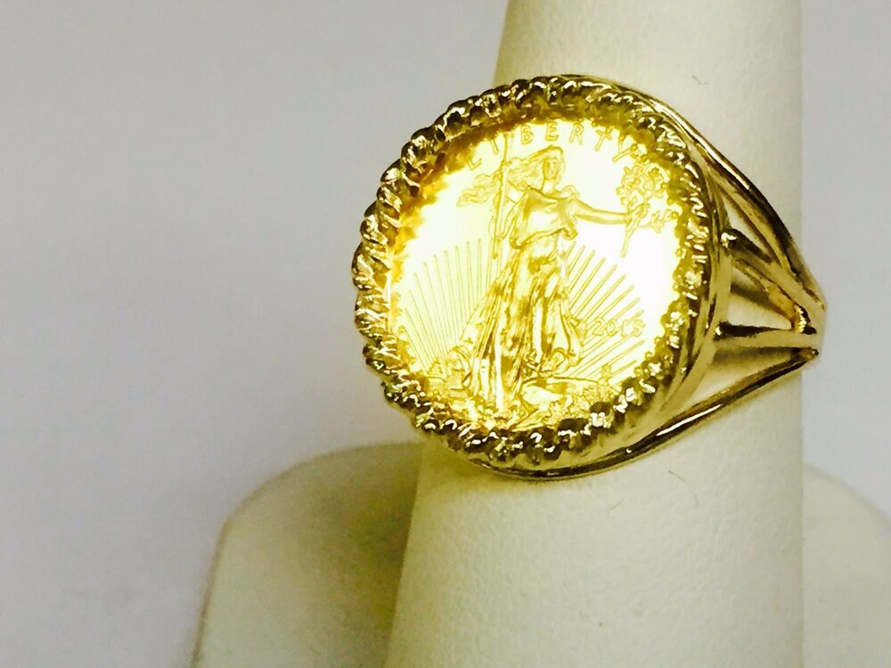 22 Kt 1 10oz Lady Liberty Coin In 14 Kt Solid Yellow Gold Ladies Coin Ring 19mm Ebay