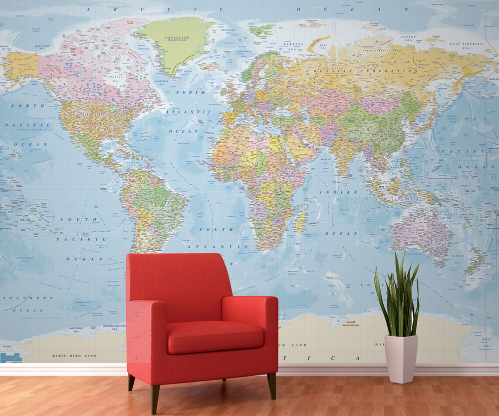 Wall mural giant photo wallpaper blue political map of the for Blue world map mural