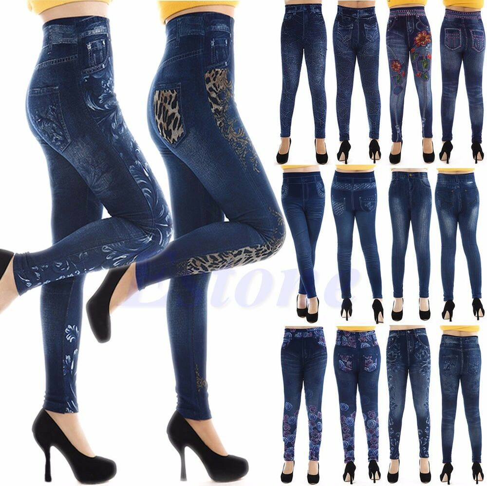 NEW Fashion Women's Jeans Look Skinny Jeggings Stretchy ...