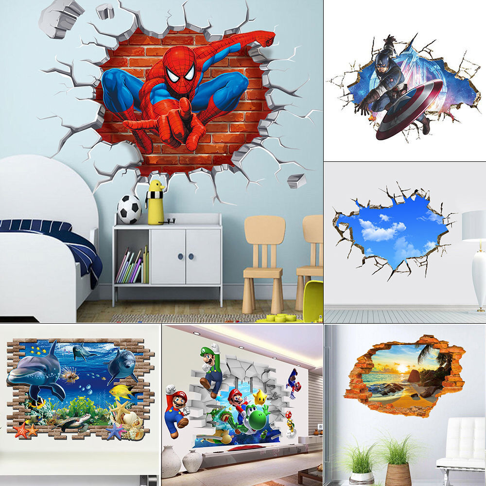 Breakthrough wall decals removable 3d wall stickers kids for Decal wall art mural