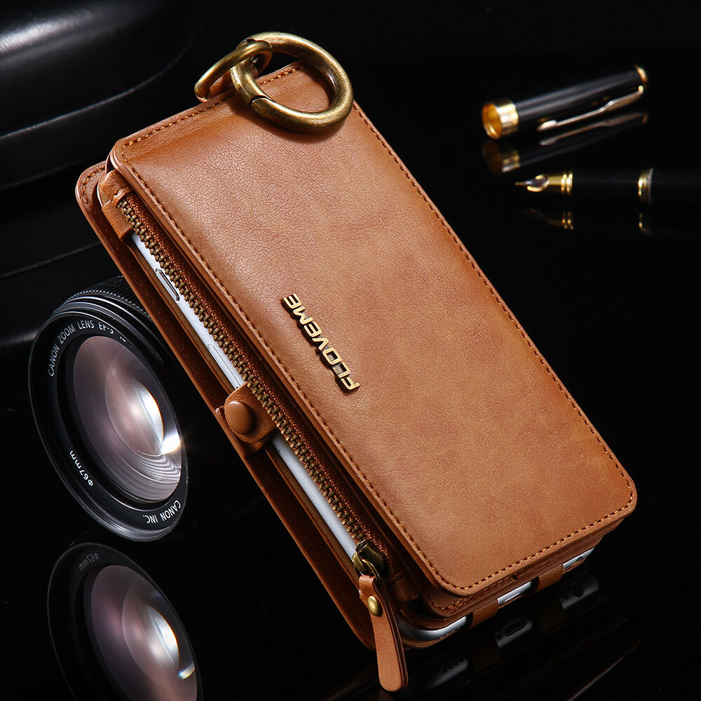 Floveme 2in1 Business Leather Card Slot Wallet Case For