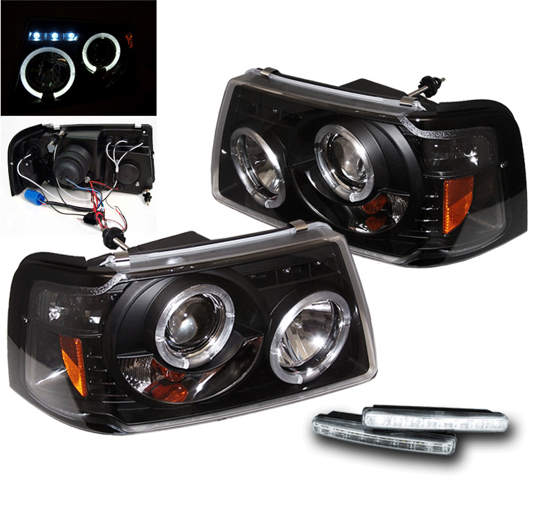 Ford Ranger Projector Headlights : Ford  ranger pickup truck black halo projector