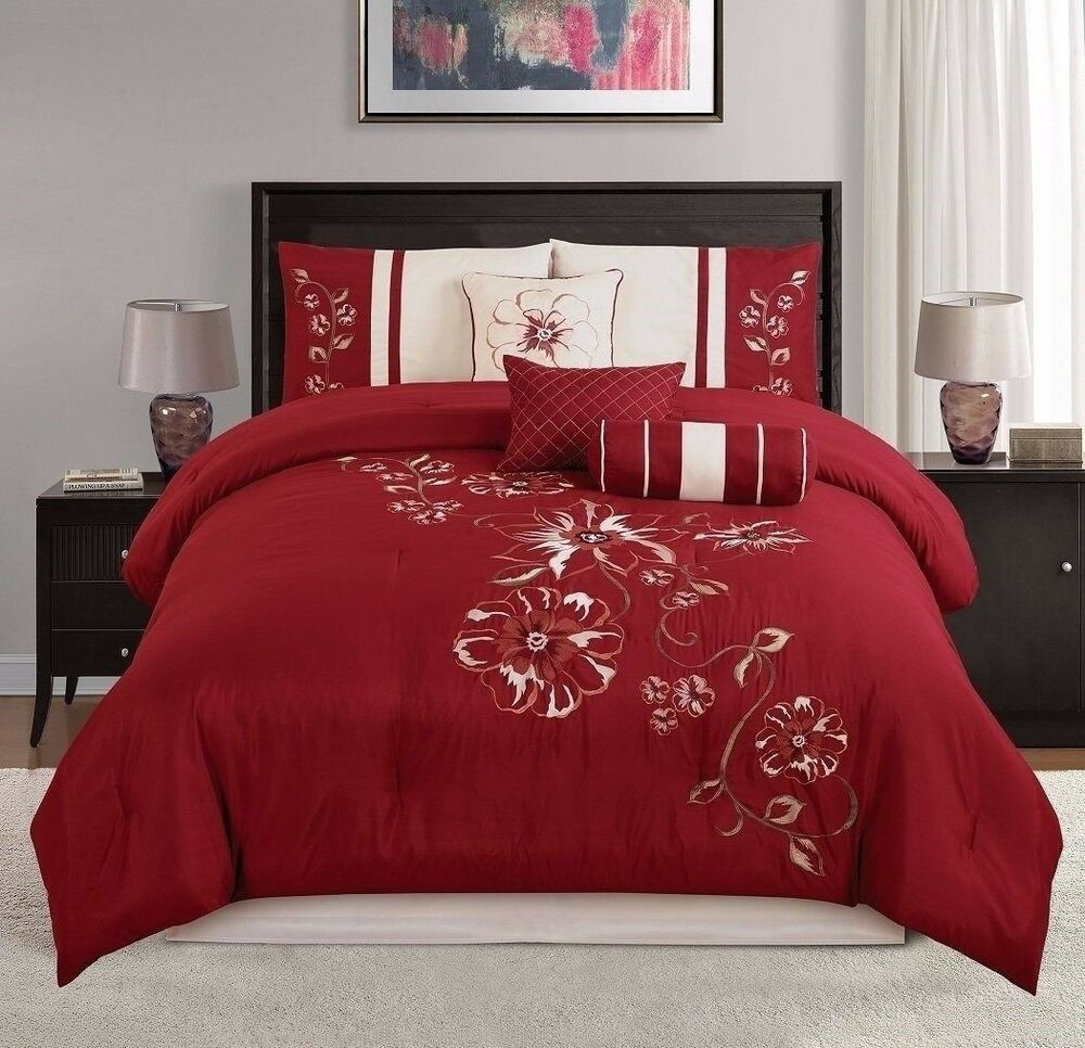 chezmoi collection 7pc embroidered red floral hibiscus 12439 | s l1000