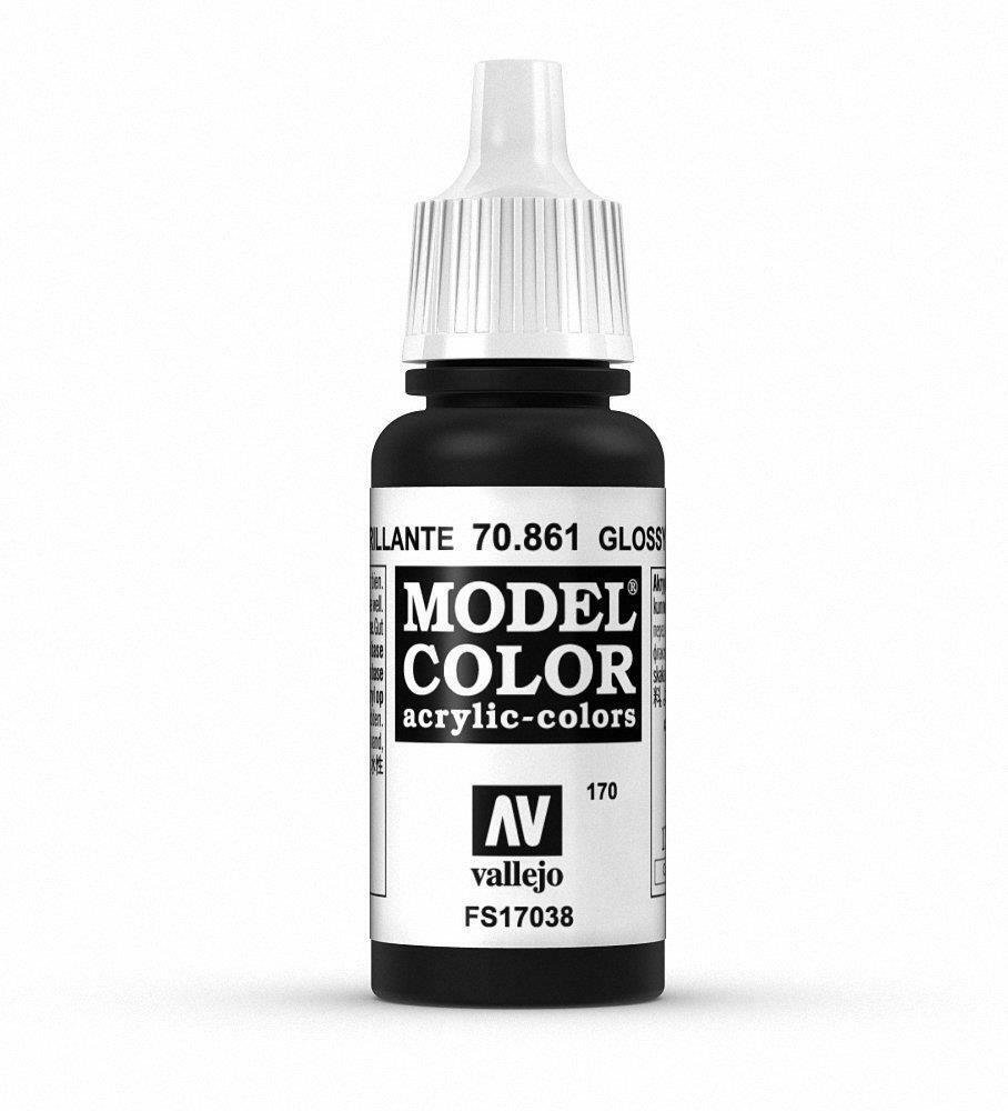 Vallejo Acrylic Paint Glossy Black Model Color 17ml VAL