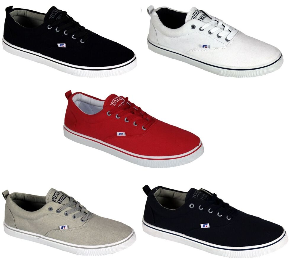 Mens New Russell Athletic Lace up Canvas Shoes Pumps Plimsolls Trainers  Sneakers  c7ad405f8