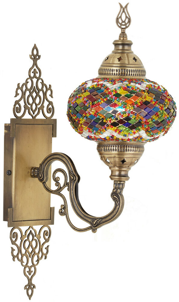 Choose Large Turkish Moroccan Mosaic Glass Wall Sconce