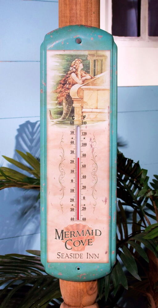 Tin vintage mermaid outdoor thermometer home wall art for Vintage hotel decor