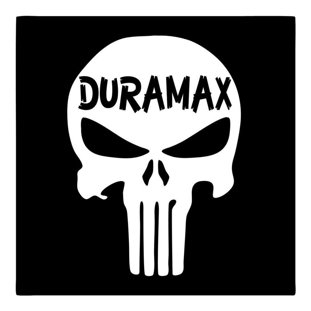 PUNISHER SKULL DURAMAX DIESEL X VINYL RIFLE GUN CAR TRUCK WINDOW - Truck window decals
