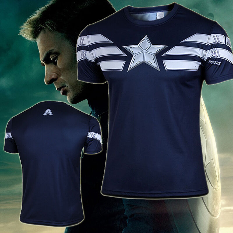 mens super hero captain america costume casual cycling t shirt jersey tee shirts ebay. Black Bedroom Furniture Sets. Home Design Ideas