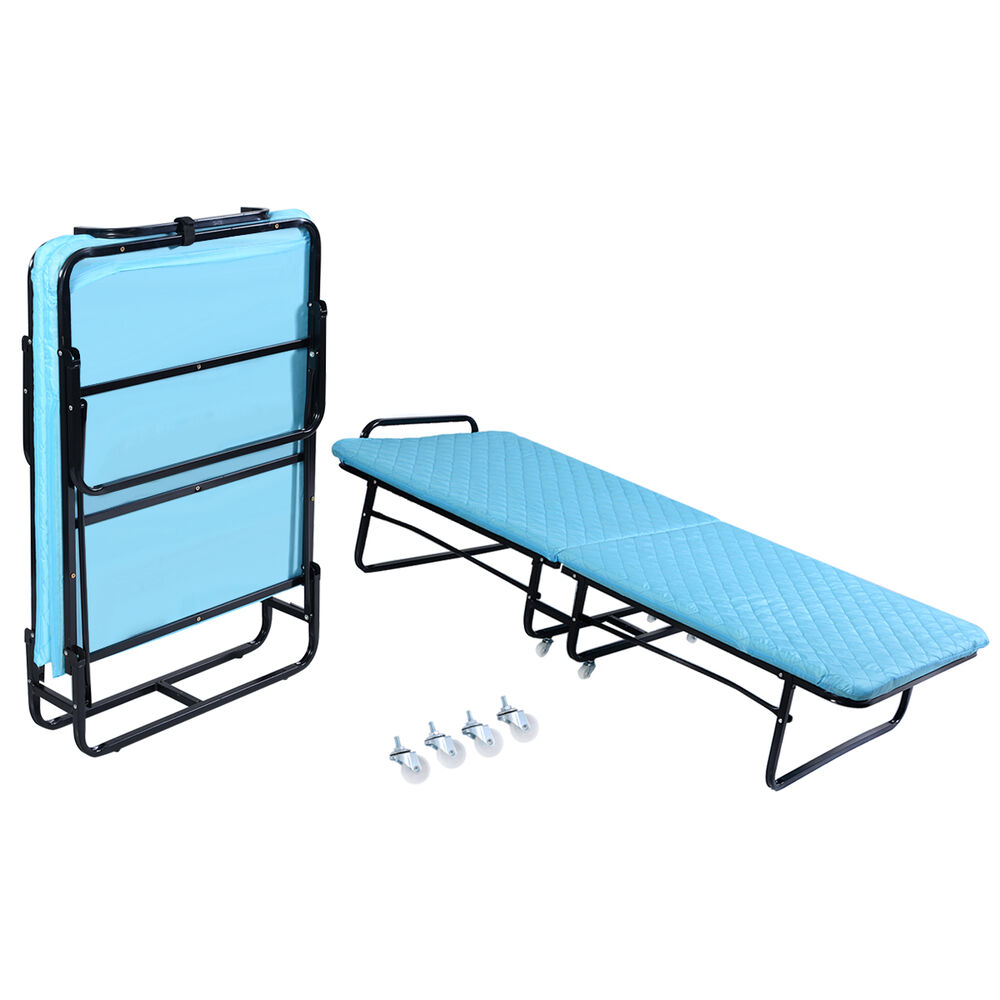 Goplus folding bed foam mattress twin roll away guest for Futon portatil