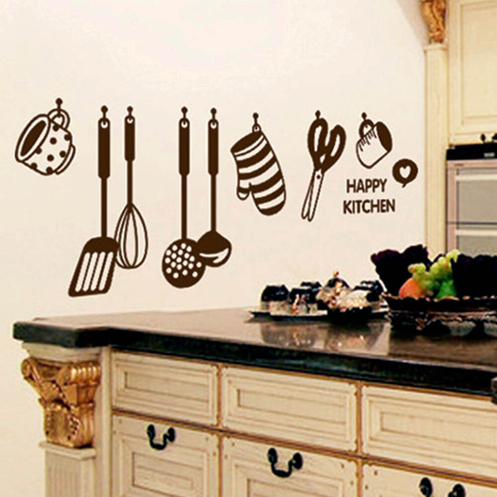 kitchen wall art new removable happy kitchen pvc mural decal wall stickers 28654