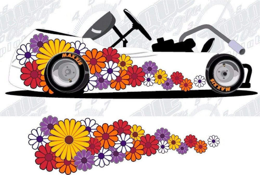 Daisy Flowers Motorcycle Go Kart Race Car Truck Semi Vinyl