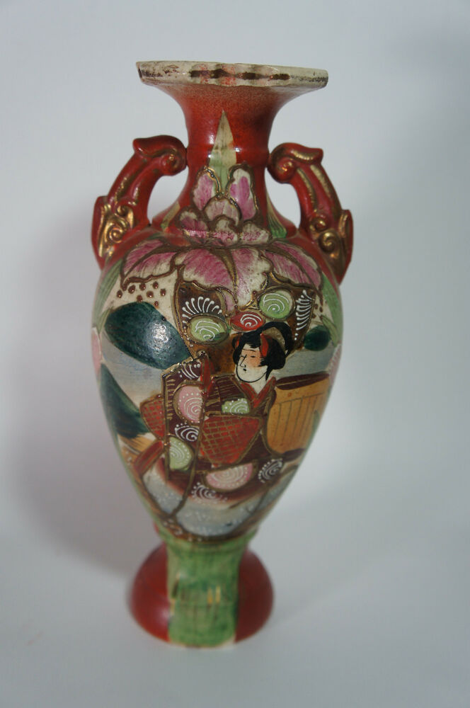Antique Oriental Asian Hand Painted Japanese Woman Geisha Vase Pink Flower Ebay