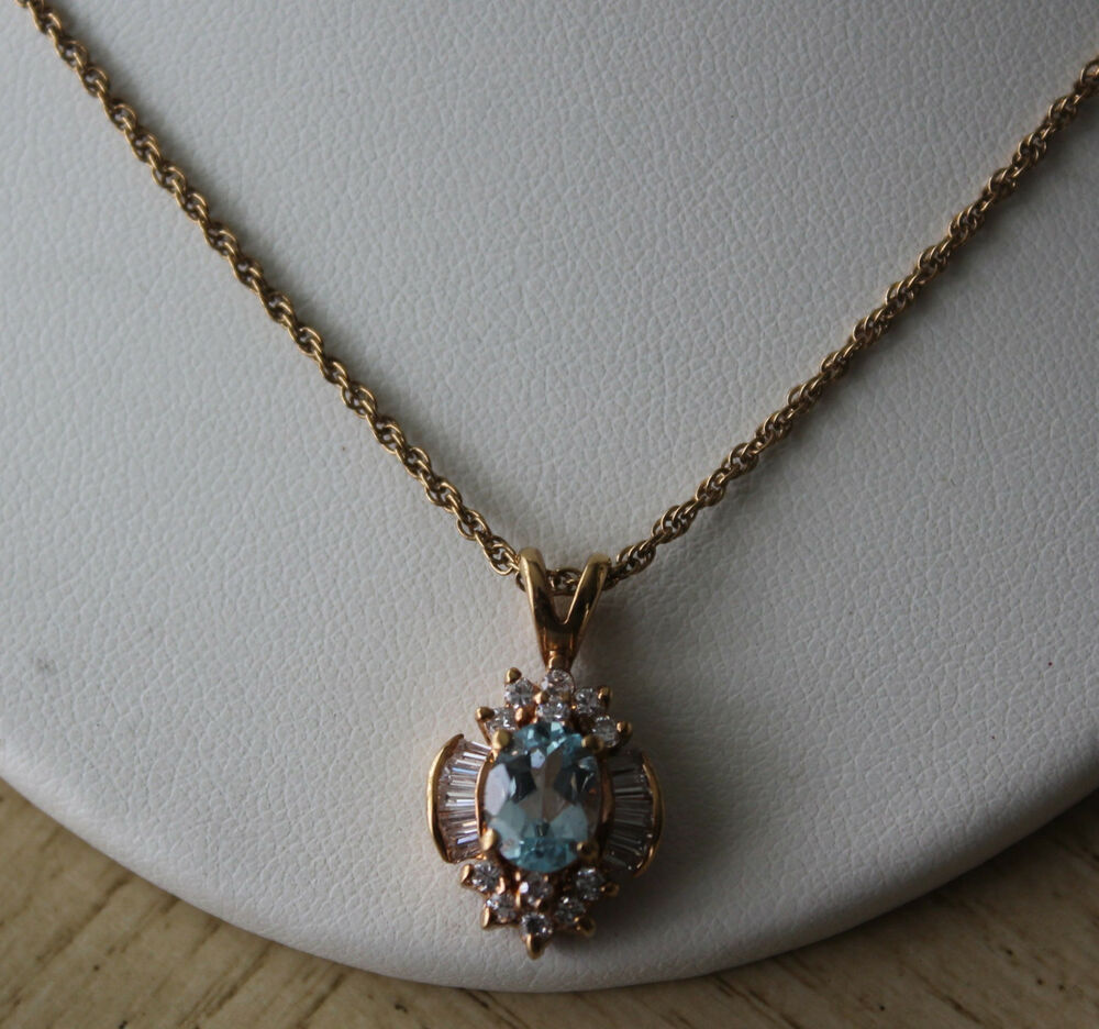 Gorgeous Gold Toned Chain Necklace With Light Blue