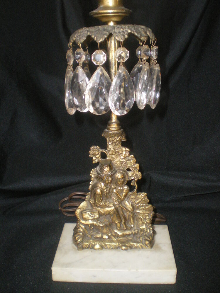 Beautiful Antique Bronze On Marble Table Lamp Lovers
