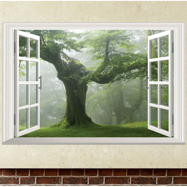 Home Decor Wholesalers Usa: Green Old Tree 3D Window Wall Sticker Removable Vinyl