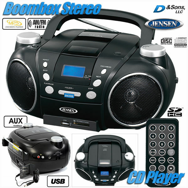 new jensen am fm radio cd player mp3 usb portable stereo boombox w aux ebay. Black Bedroom Furniture Sets. Home Design Ideas