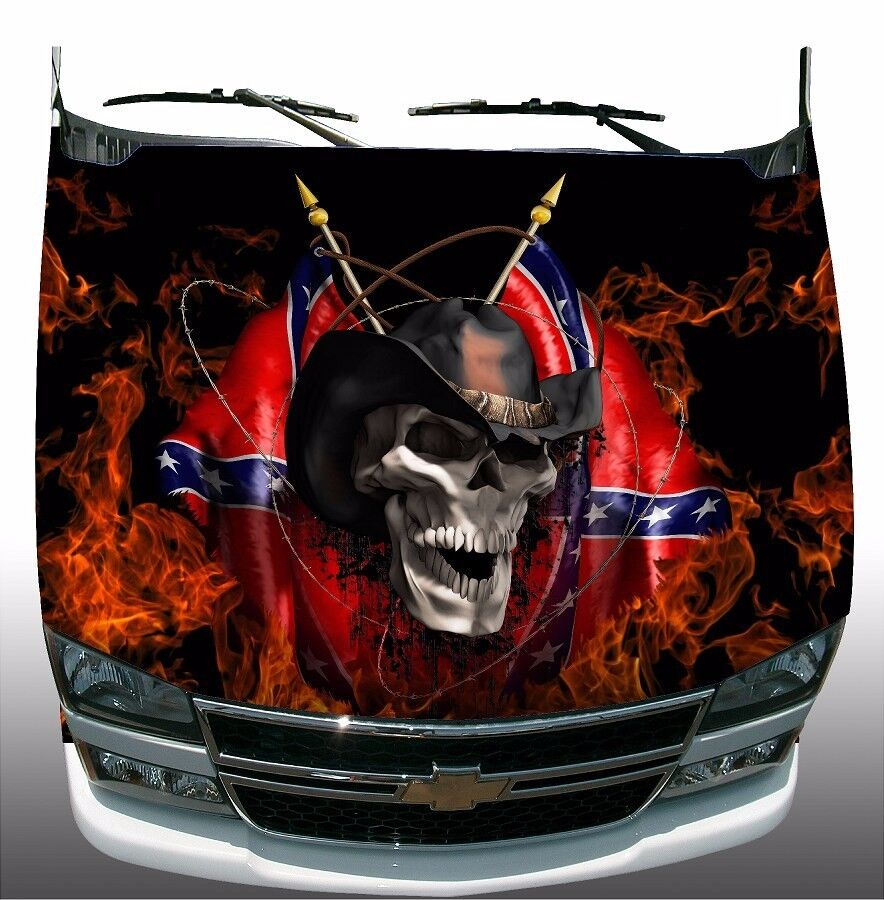 Rebel Cowboy Skull Flame Fire Hood Wrap Wraps Sticker