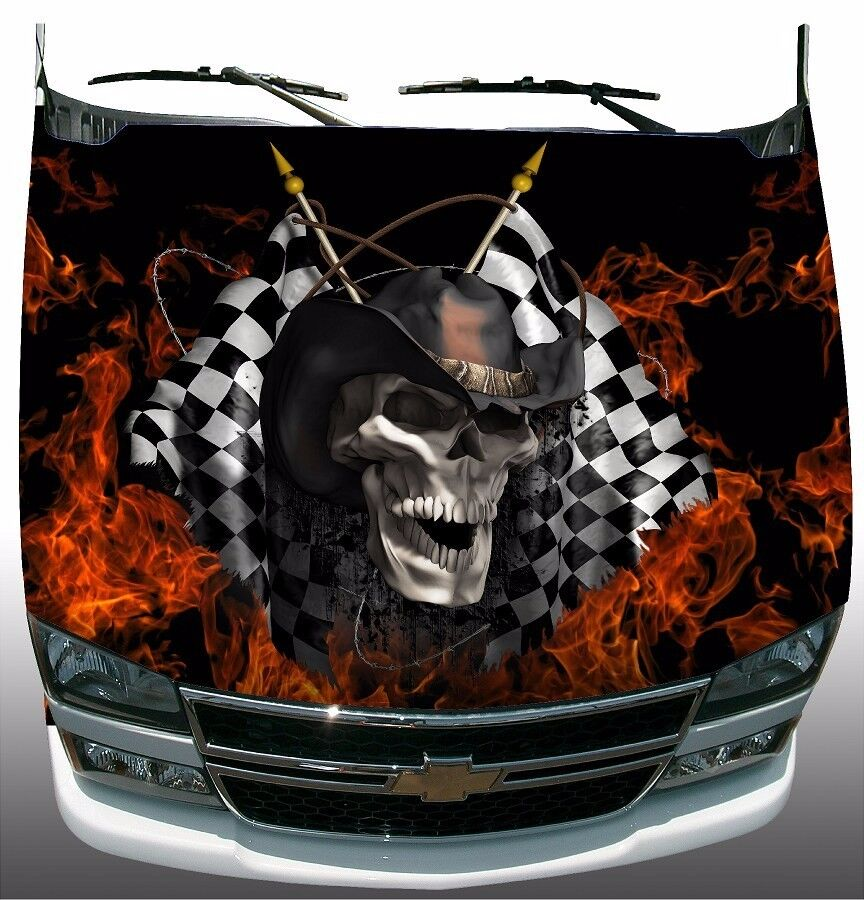Racing Skull Checkered Flag Flame Fire Hood Wrap Sticker