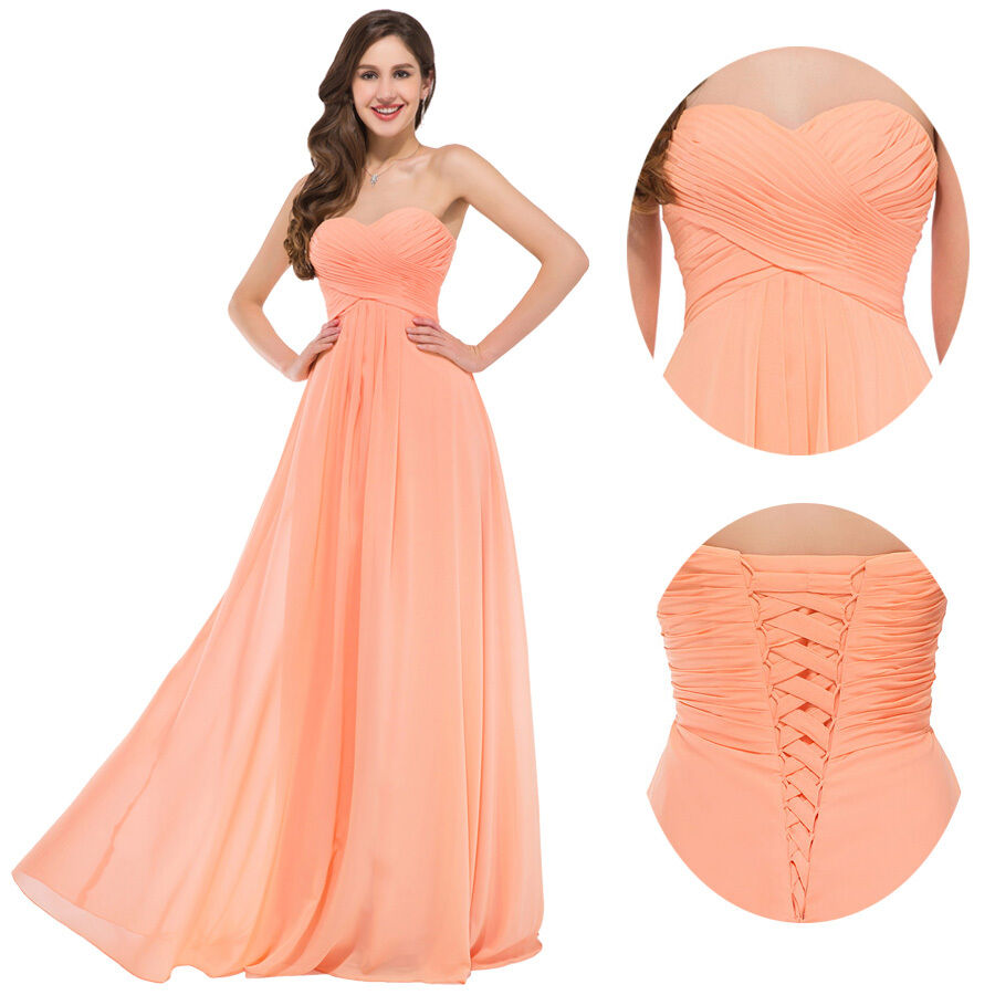 Women chiffon formal wedding prom ball gown long evening for Formal dress for the wedding