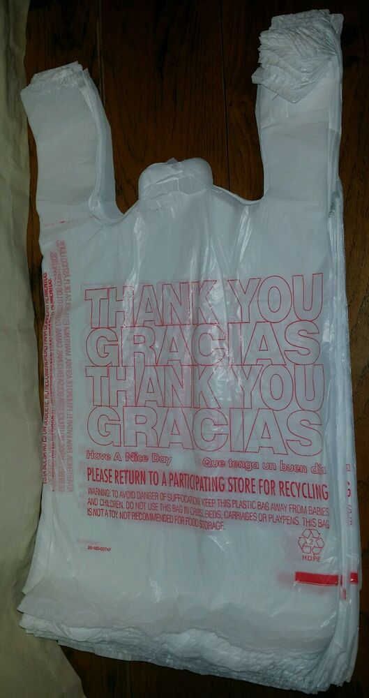 50ct Large 1 6 Thank You T Shirt Plastic Grocery Shopping