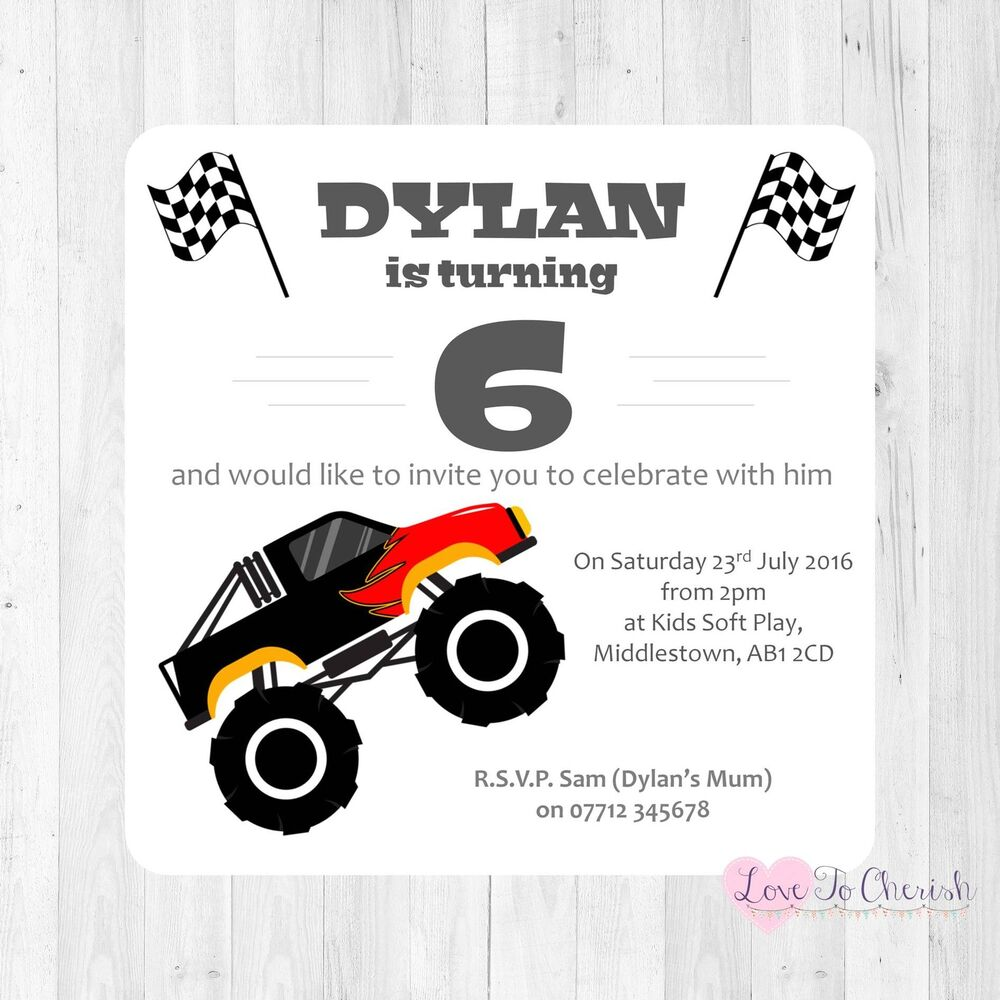 Personalised INVITATIONS Big Monster Truck ANY AGE -Boy\'s Birthday ...