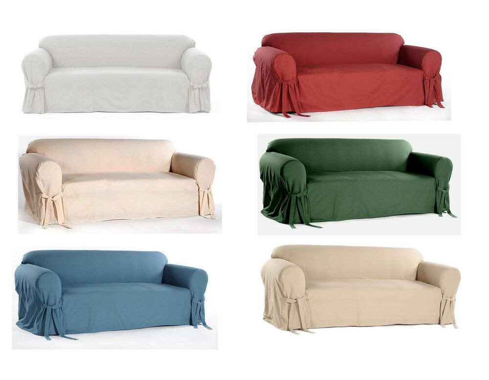 100 Cotton Washable Solid Bow Tie Round Arm Slipcover Sofa Loveseat Arm Chair Ebay