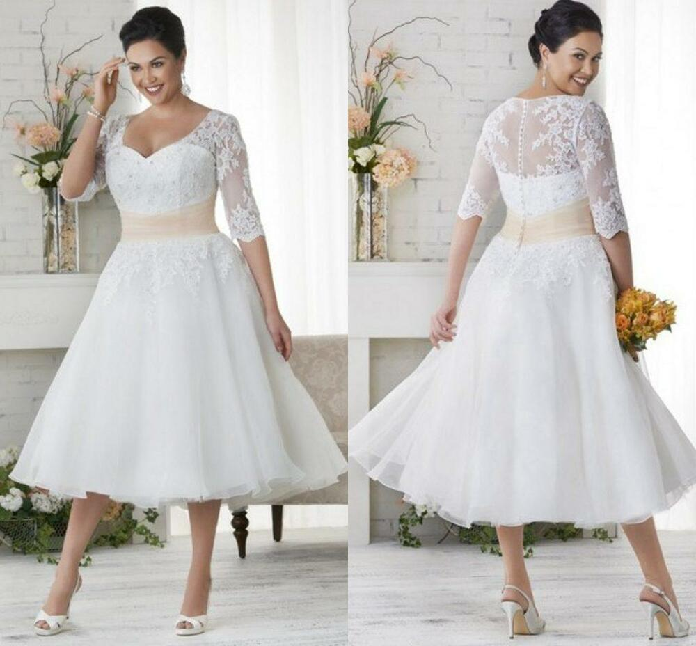 Tea length half sleeve lace plus size wedding dresses for Lace wedding dresses plus size