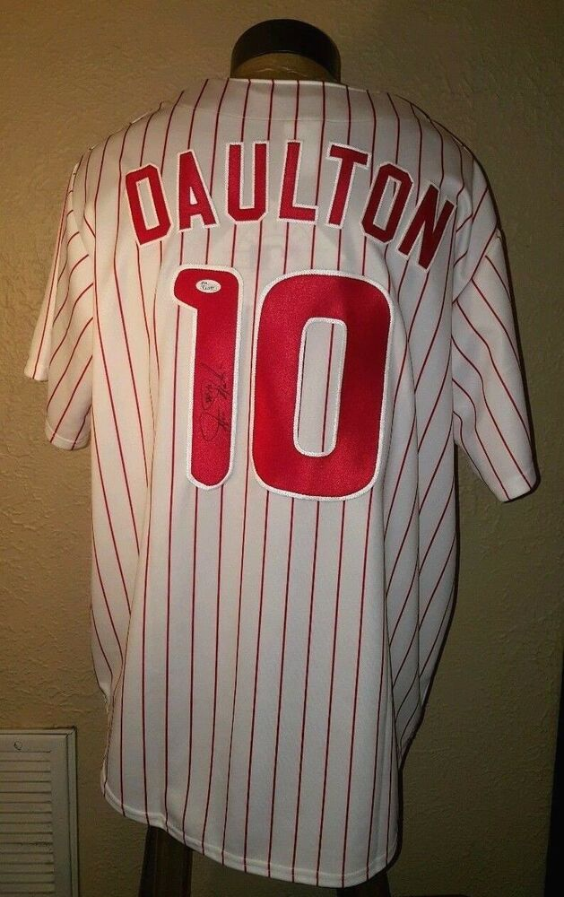 960a5bf61 NEW Majestic MLB Philadelphia Phillies  10 Daulton Autograph Authentic  Jersey XL