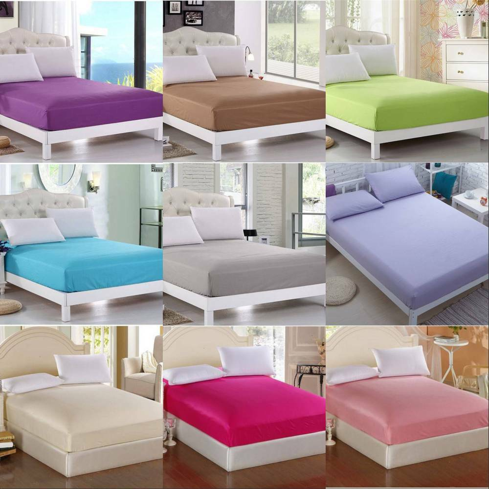 solid color bedding fitted sheet twin full queen king size bed sheet 9 colors ebay. Black Bedroom Furniture Sets. Home Design Ideas