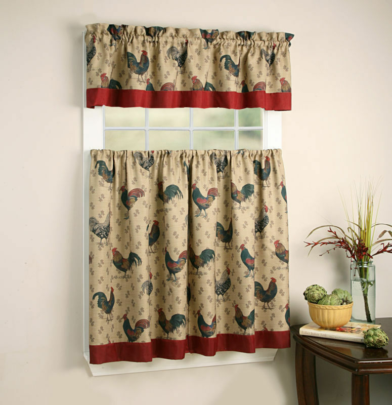 3-Pc French Country Shabby Chic Rooster Tier & Valance Set